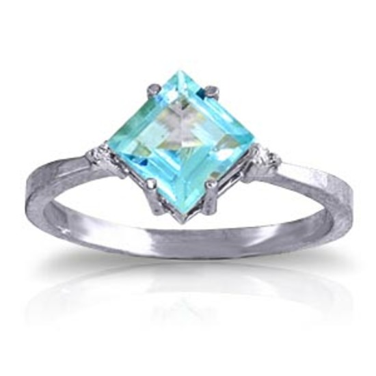 1.77 Carat 14K Solid White Gold Ring Diamond Blue Topaz
