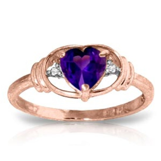 0.96 Carat 14K Solid Rose Gold Glory Amethyst Diamond Ring