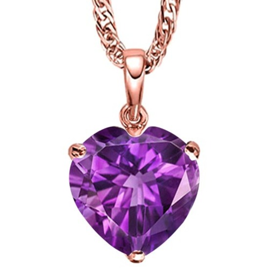 0.75 CARAT AMETHYST 10K SOLID RED GOLD HEART SHAPE PENDANT