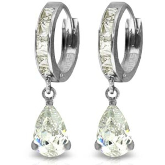 5.7 Carat 14K Solid White Gold Lover And Beloved Cubic Zirconia Earrings