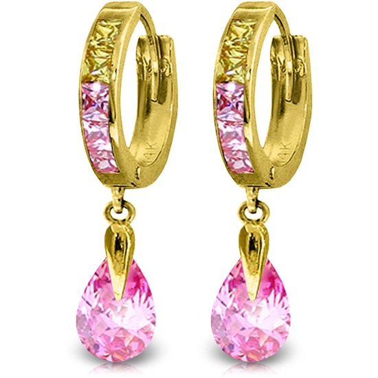 5.68 CTW 14K Solid Gold Pink Act Cubic Zirconia Earrings