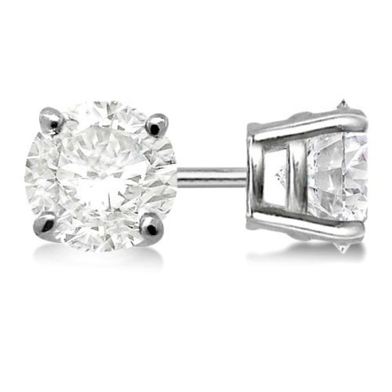 Certified 1.03 CTW Round Diamond Stud Earrings J/SI2