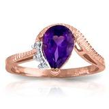 1.52 Carat 14K Solid Rose Gold Ring Diamond Purple Amethyst