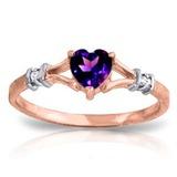 0.47 Carat 14K Solid Rose Gold Rings Natural Diamond Purple Amethyst