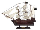 Wooden Black Barts Royal Fortune White Sails Pirate Ship Model 15in.