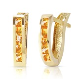 0.7 Carat 14K Solid Gold Oval Huggie Earrings Citrine