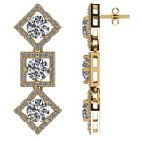 Certified 2.00 CTW Round Diamond 14K Yellow Gold Earring