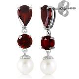 10.5 CTW 14K Solid White Gold Chandelier Earrings Garnet pearl