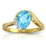 1.52 Carat 14K Solid Gold Homecoming Blue Topaz Diamond Ring