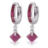3.7 Carat 14K Solid White Gold Hoop Earrings Dangling Ruby