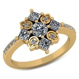 Certified .80 CTW Round and Princess Cut Diamond 14K Yellow Gold Ring