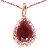 0.6 CARAT RUBY & 0.01 CTW DIAMOND 14KT SOLID RED GOLD PENDANT