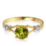 0.87 Carat 14K Solid Gold Love Requiem Peridot Diamond Ring