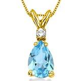 0.85 CARAT SKY BLUE TOPAZ & 0.01 CTW DIAMOND 14KT SOLID YELLOW GOLD PENDANT