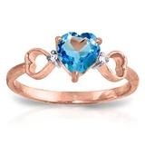 0.96 CTW 14K Solid Rose Gold Tri Heart Blue Topaz Diamond Ring