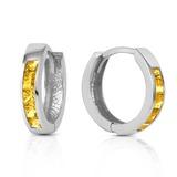 0.7 CTW 14K Solid White Gold Hoop Huggie Earrings Citrine