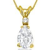 0.75 CARAT WHITE TOPAZ & 0.01 CTW DIAMOND 14KT SOLID YELLOW GOLD PENDANT