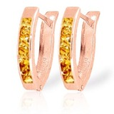 0.7 CTW 14K Solid Rose Gold Oval Huggie Earrings Citrine