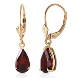2.45 Carat 14K Solid Gold Leverback Earrings Garnet