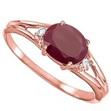 0.64 CARAT RUBY & 0.02 CTW DIAMOND 10KT SOLID RED GOLD RING