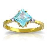 1.77 CTW 14K Solid Gold Ring Diamond Blue Topaz