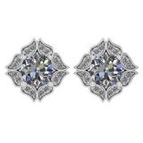 Certified .98 Ctw Diamond 14k White Gold Halo Stud Earring