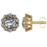 Certified 1.90 CTW Round Diamond 14K Yellow Gold Earring