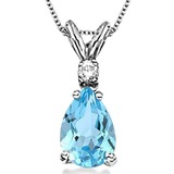 0.85 CARAT SKY BLUE TOPAZ & 0.01 CTW DIAMOND 14KT SOLID WHITE GOLD PENDANT