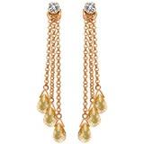 14K Solid Rose Gold Chandelier Earrings withDiamonds & Citrines