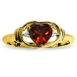0.96 CTW 14K Solid Gold January Is Here Garnet Diamond Ring