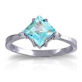 1.77 Carat 14K Solid White Gold Ring Diamond Blue Topaz