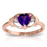 0.96 Carat 14K Solid Rose Gold Glory Amethyst Diamond Ring