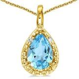 0.51 CARAT SKY BLUE TOPAZ & 0.01 CTW DIAMOND 14KT SOLID YELLOW GOLD PENDANT