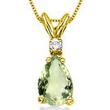 0.64 CARAT GREEN AMETHYST & 0.01 CTW DIAMOND 14KT SOLID YELLOW GOLD PENDANT