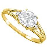 0.47 CARAT WHITE TOPAZ & 0.02 CTW DIAMOND 10KT SOLID YELLOW GOLD RING