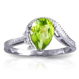 1.52 Carat 14K Solid White Gold Outstretched Hand Peridot Diamond Ring