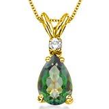 0.62 CARAT GREEN MYSTIC QUARTZ & 0.01 CTW DIAMOND 14KT SOLID YELLOW GOLD PENDANT