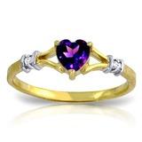 0.47 Carat 14K Solid Gold Rings Natural Diamond Purple Amethyst