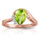 1.52 Carat 14K Solid Rose Gold Azur Peridot Diamond Ring