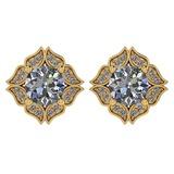 Certified .98 Ctw Diamond 14k Yellow Gold Halo Stud Earring