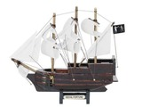 Wooden Black Barts Royal Fortune White Sails Model Pirate Ship 7in.