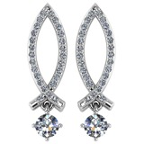 Certified .72 Ctw Diamond 14k White Gold Halo Dangling Earring VS-SI2