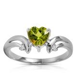 1.26 Carat 14K Solid White Gold Ring Diamond Peridot