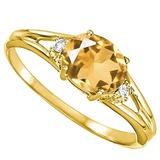 0.43 CARAT CITRINE & 0.02 CTW DIAMOND 10KT SOLID YELLOW GOLD RING