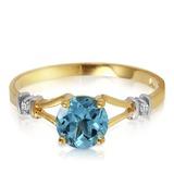 1.02 CTW 14K Solid Gold Loves Ingredient Blue Topaz Diamond Ring