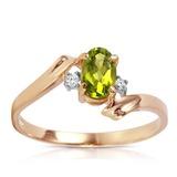 0.46 CTW 14K Solid Rose Gold Rings Natural Diamond Peridot