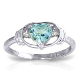 0.96 Carat 14K Solid White Gold Sunny Afternoon Blue Topaz Diamond Ring