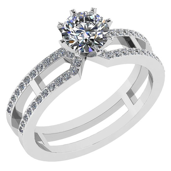 Certified 1.32 Ctw Diamond 14k White Gold Engagement Ring