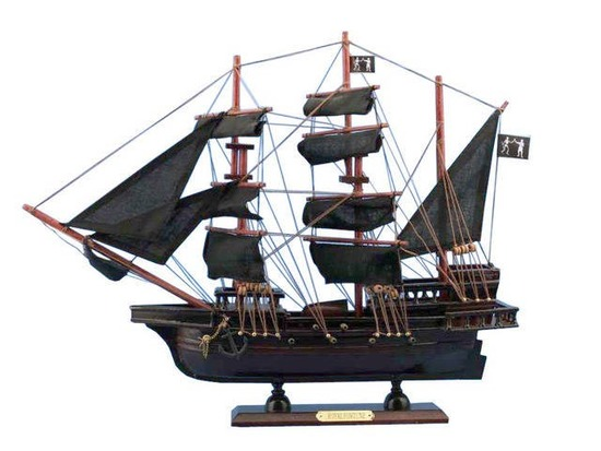 Wooden Black Barts Royal Fortune Model Pirate Ship 20in.