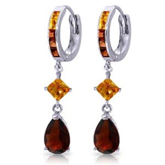 5.15 Carat 14K Solid White Gold Huggie Earrings Dangling Garnet Citrine